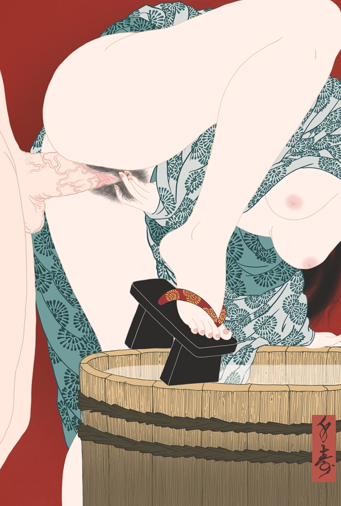 A painting influenced by Japanese Shunga showing two lovers fucking supported by a wodden bath tub.