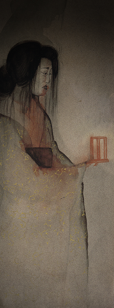 To show a ghost painting in Japanese style by Swedish artist Anna Sandberg.