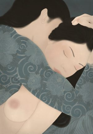 To show a highly erotic painting in the Shunga tradition by Senju. It depicts a couple in sensual intimacy. The man is wearing a Japanese traditional Irezumi tattoo.