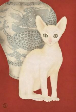 Dragon vase kitten