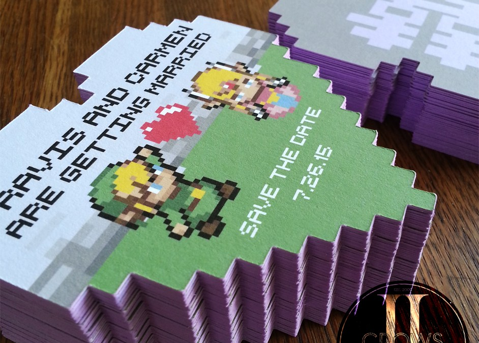 Legend of zelda wedding invites legend of zelda pixel hearts wedding save the dates stopboris Choice Image