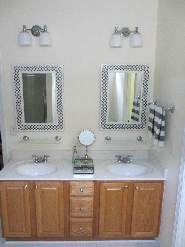 My Painted Bathroom Vanity Before and After  Two Delighted