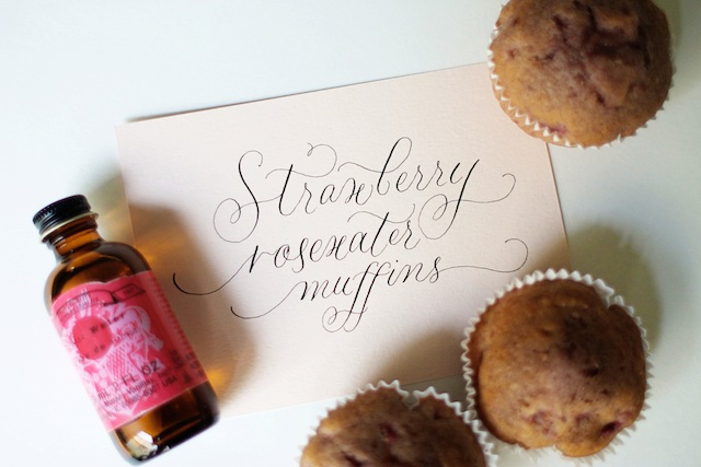 Strawberry Rosewater Muffins title | Two Delighted