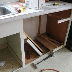 How To Refinish Kitchen Sink Aid Pans Twofeetfirst – Adding A Dishwasher Existing Cabinets