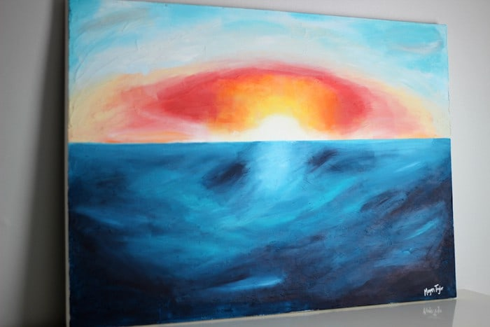 DIY Abstract Beach Sunset Painting