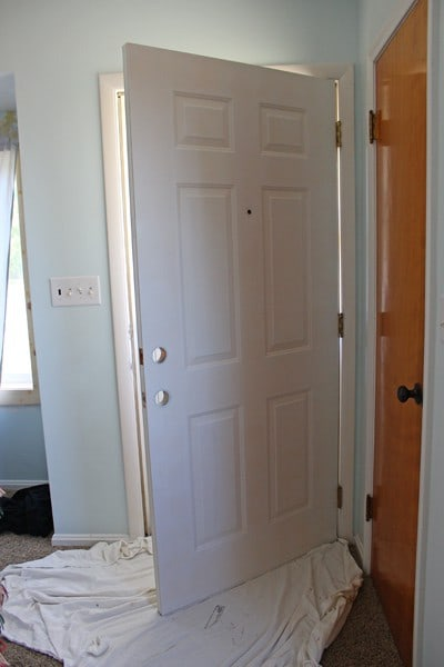 After Letting The Door Sit For 1 Hour, I Applied The Paint The Same Way As  The Primer. Another Hour Later, I Applied A Second Coat Of Paint To The Door  (you ...