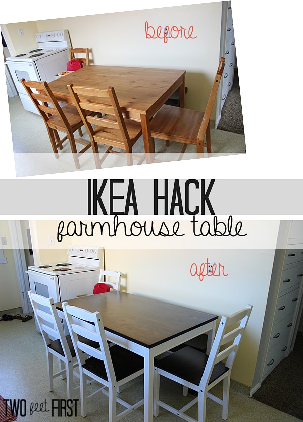 Ikea hack farmhouse table twofeetfirst diy kitchen table workwithnaturefo