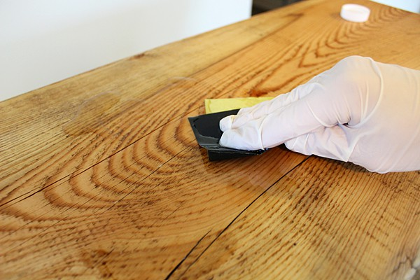Apply tung oil with sandpaper