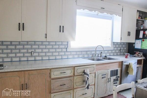 painted subway tile backsplash for kitchen