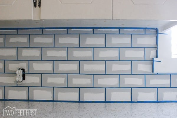 tape lines for painted subway tile