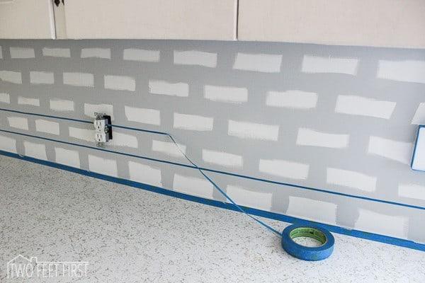 paint backsplash to look like tile