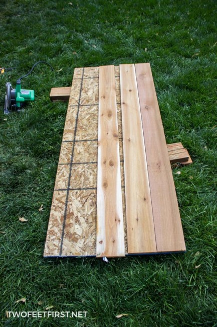 adding cedar to plywood for shed door
