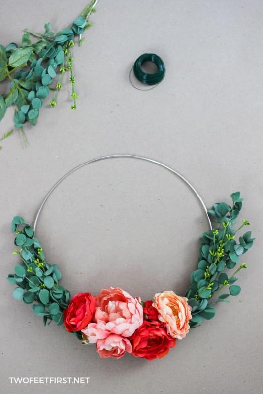 how to make a flower hoop wreath