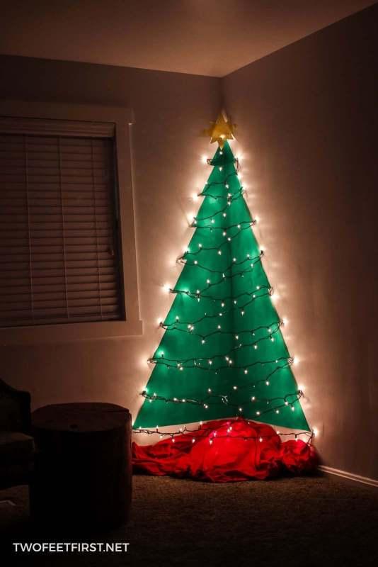 homemade wall mounted Christmas tree