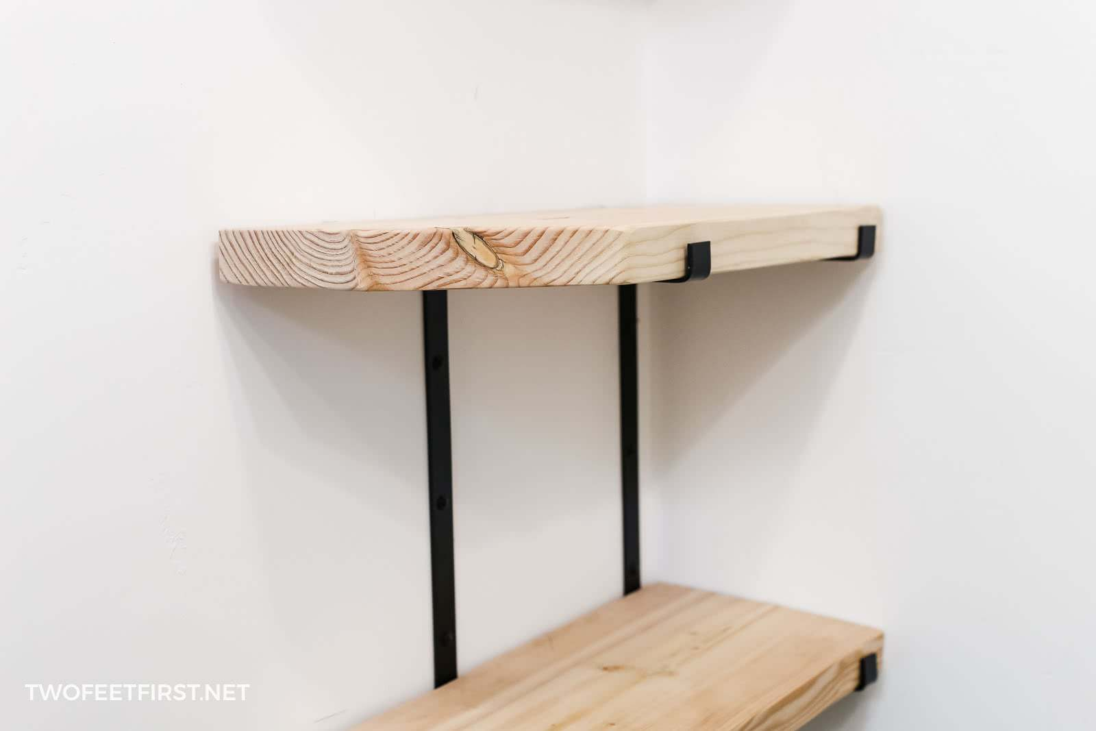 create custom industrial style shelves with metal brackets