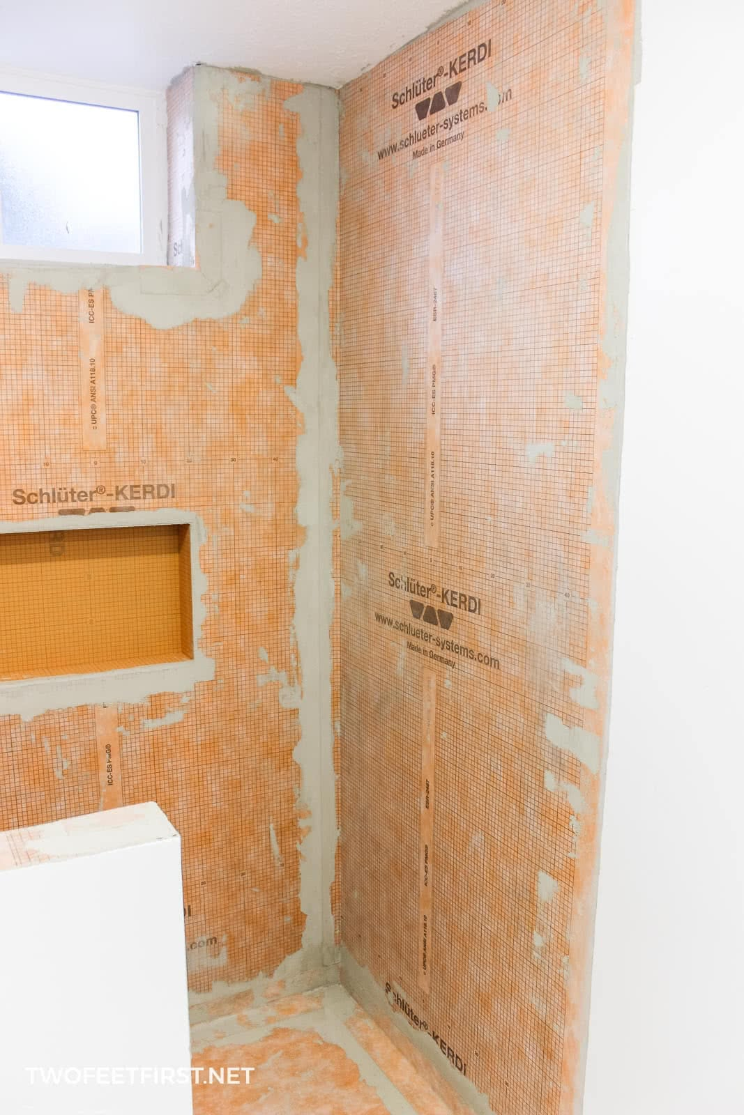 prep a shower for tile with schluter kerdi