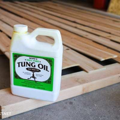 tung oil on cedar panels