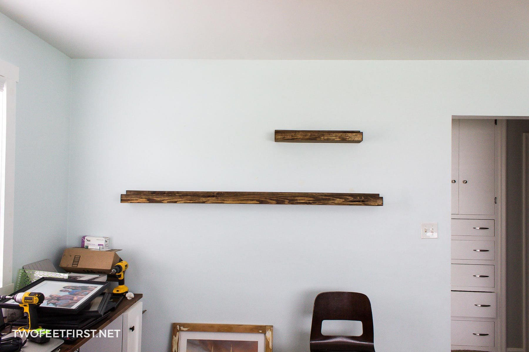 long DIY picture shelf