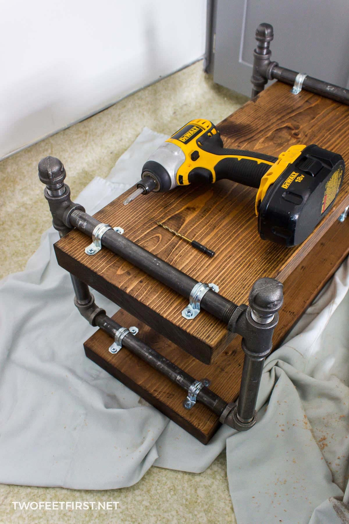 diy industrial shoe rack with pipe and