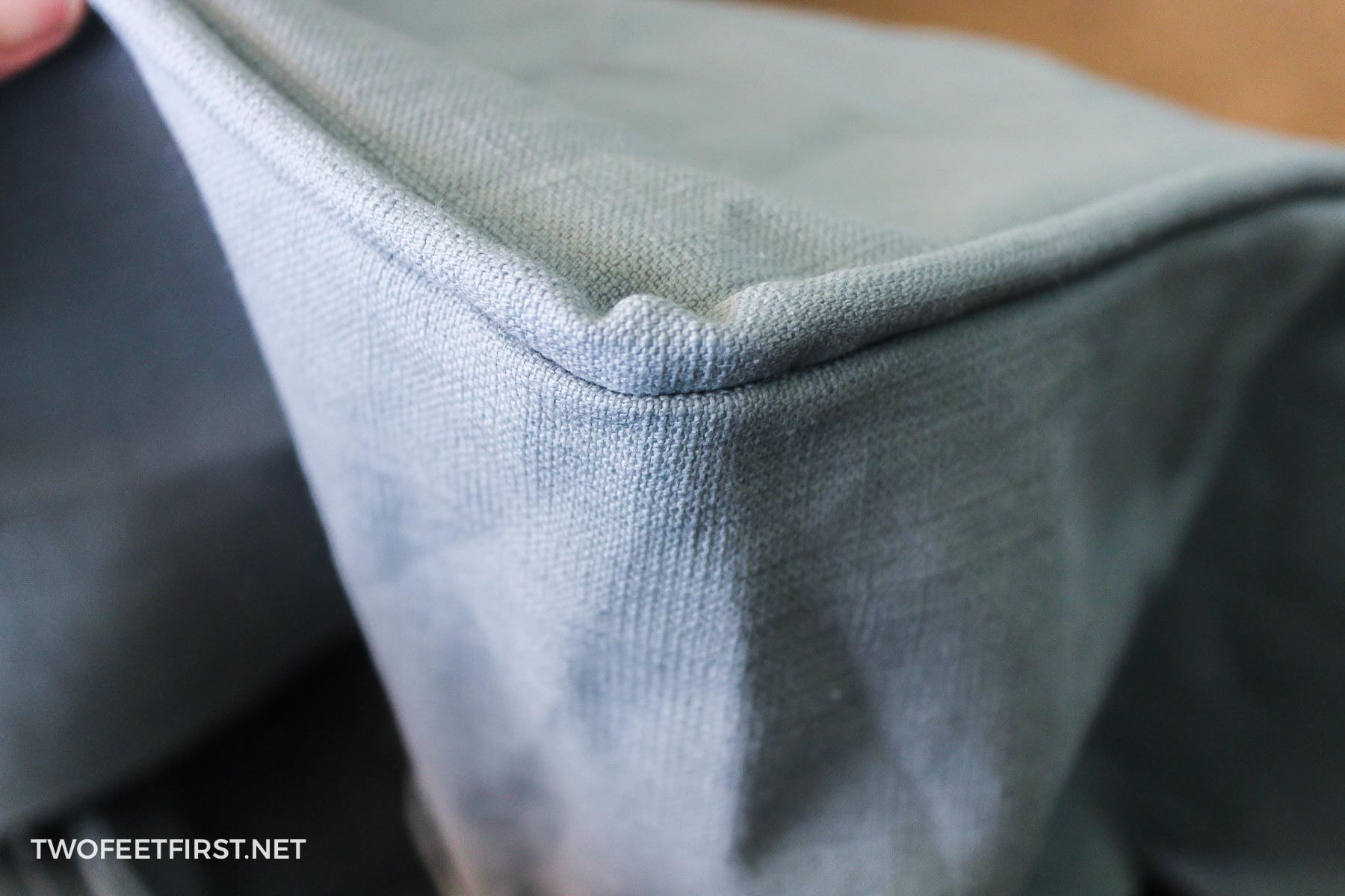 corner of cushion cover