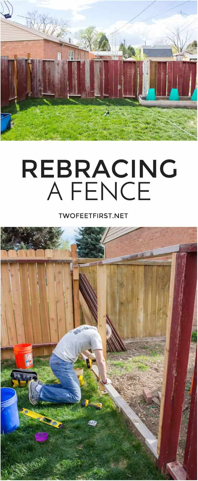 The process to re-brace a fence.