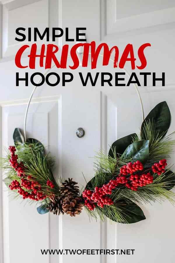 DIY holiday hoop wreath