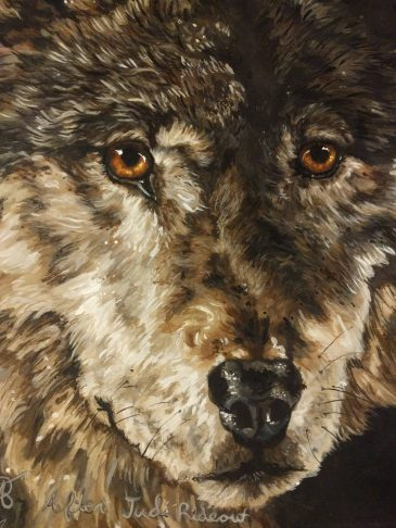 Detail of Two wolves
