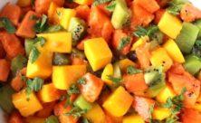 kiwi, mango, papaya, mint and orange juice