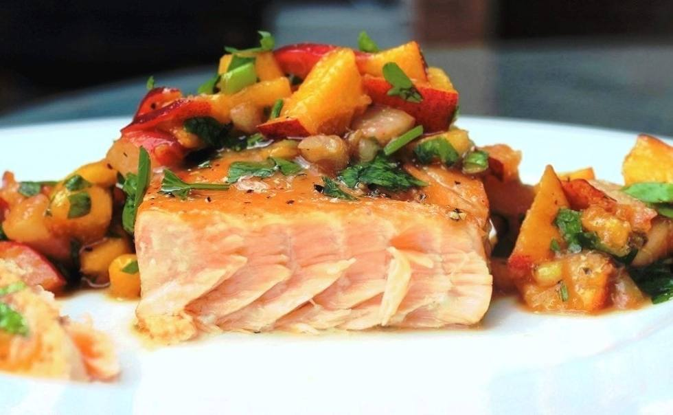 Maple-Ginger Salmon with Peach Salsa