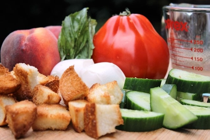 Peach Panzanella ingredients