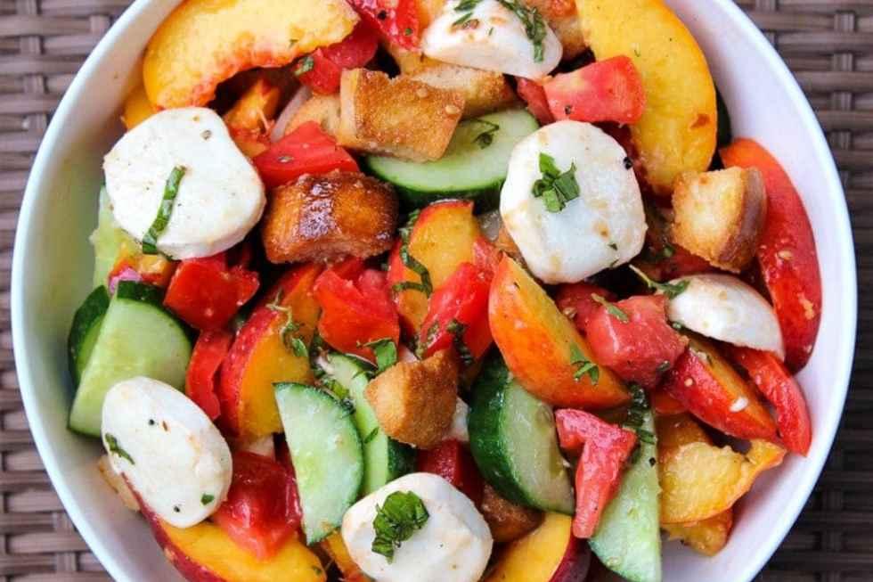 Savoury Peach Panzanella Salad