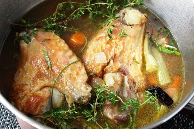 Simmering the turkey broth