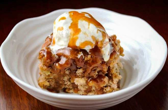 Apple Cake with Caramel-Bourbon Sauce