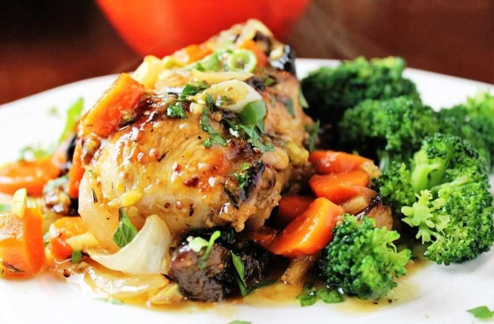 Company Chicken with Citrus, Carrots, Prunes and Pistachios