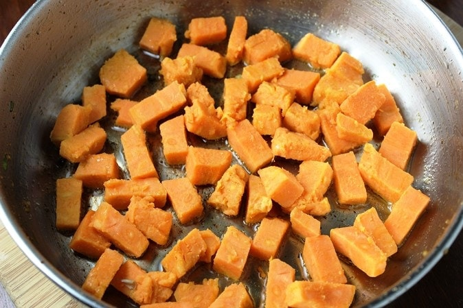 saute precooked sweet potatoes