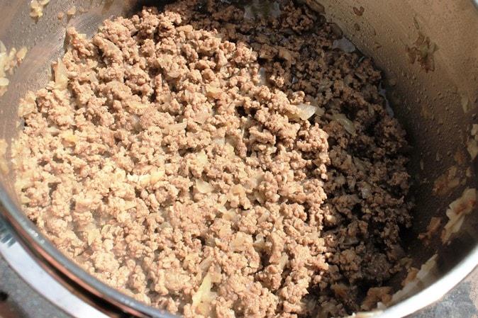 ground beef and onions sauteed