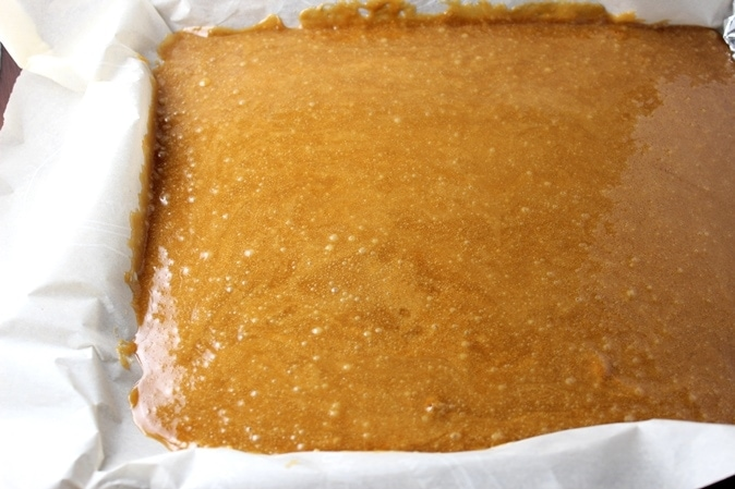 toffee poured into pan