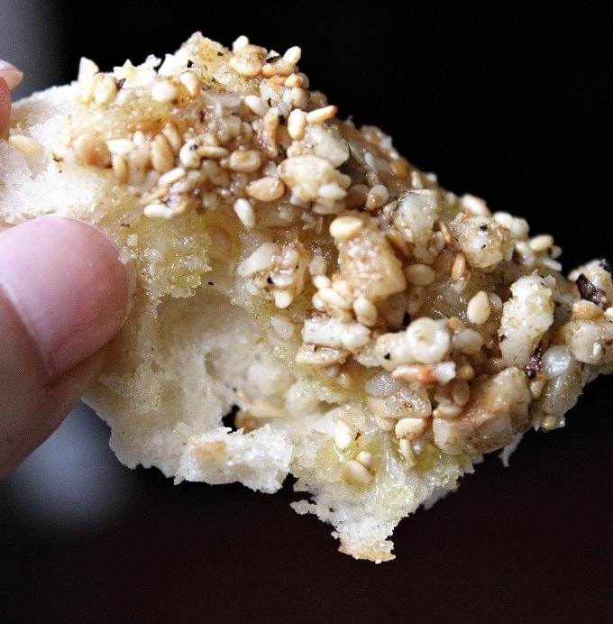 """Homemade Dukkah Appetizer, a superb """"dip"""" made with ground nuts, seeds and spices"""