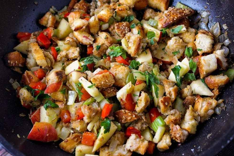 Homemade Stovetop Stuffing with onions, peppers, celery thyme and apples