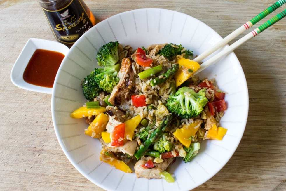 Vegetable & Grilled Chicken Fried Rice with peppers, onions, mangoes, broccoli, asparagus