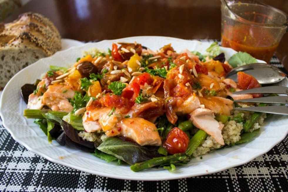 Warm Salmon Salad with Spicy Tomato Citrus Sauce | Two ...
