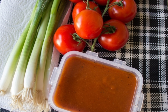 tomatoes, green onions, catalina dressing