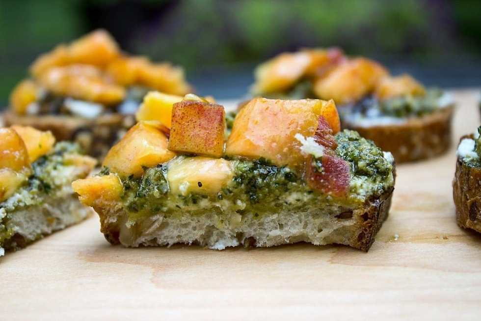 Peach, Pesto, Ricotta Appetizers
