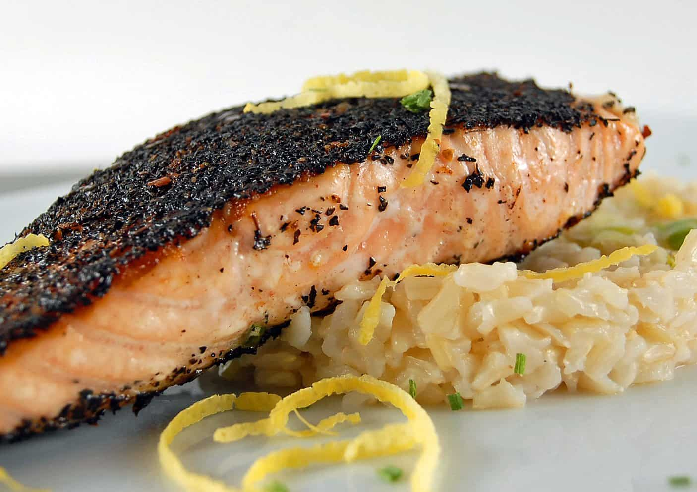 Tea-Rubbed Salmon with Lemon-Scallion Rice