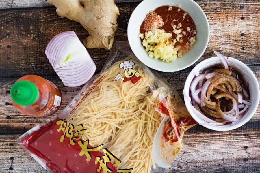 mise en place for Burma Superstar's garlic noodles