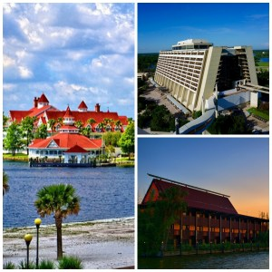 Image source Flickr. Clockwise from left to right: Grand Floridian, Contemporary, Polynesian