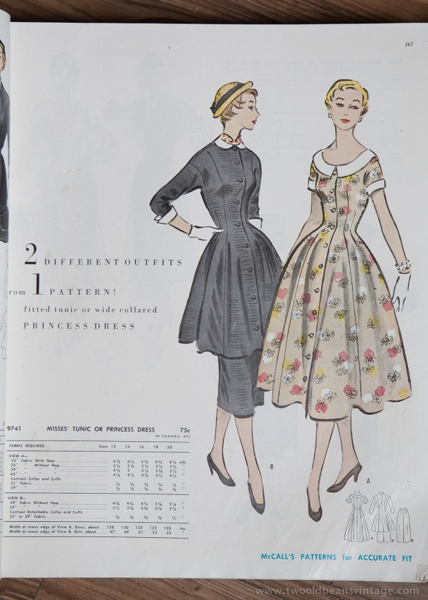 9741 Mccalls 1954 Winter Vintage Pattern | 1950s Two Old Beans Vintage Clothing