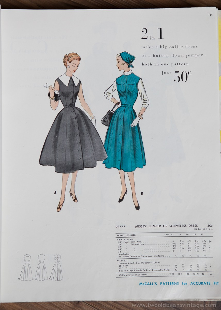 9877 Mccalls 1954 Winter Vintage Pattern | 1950s Two Old Beans Vintage Clothing