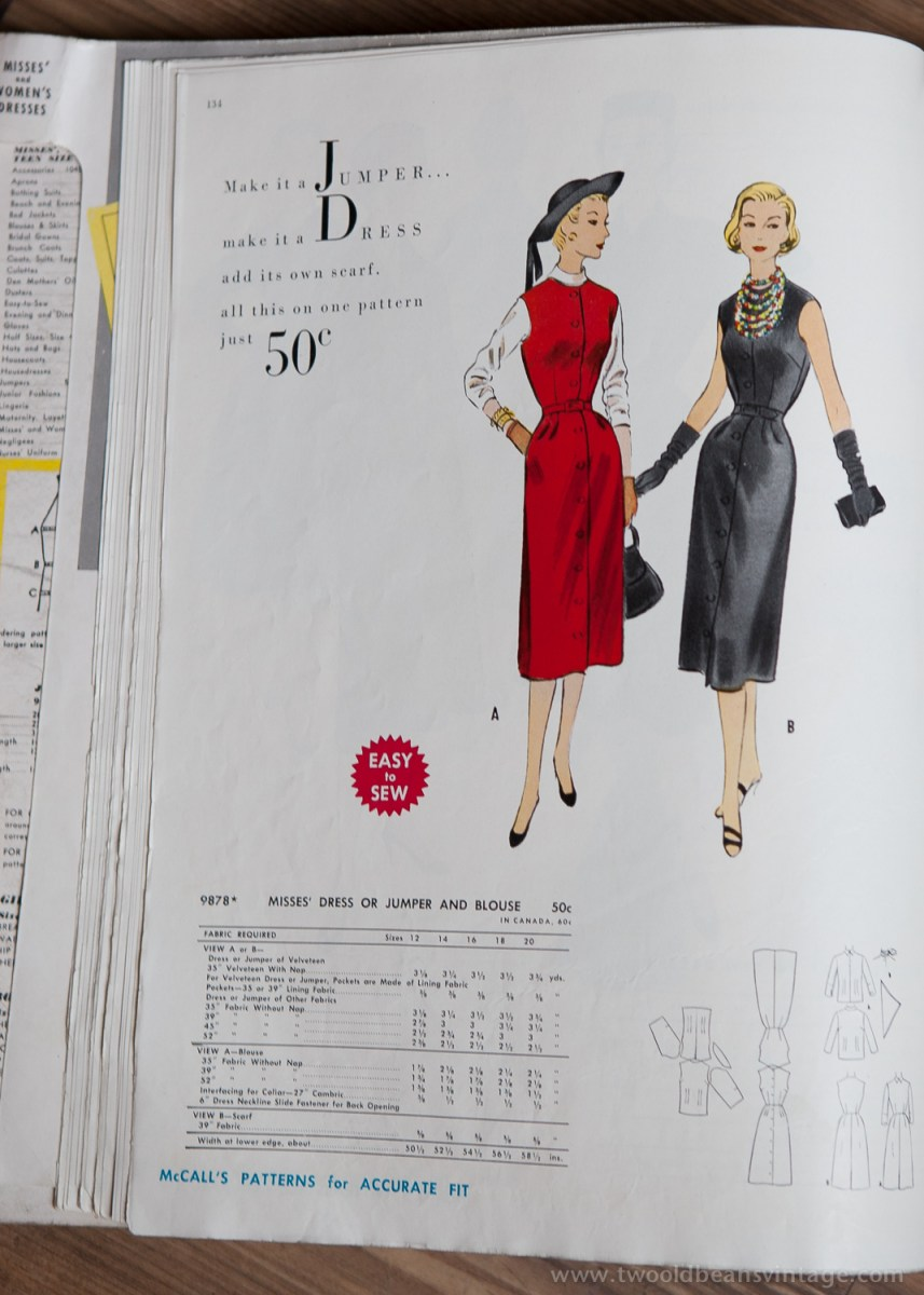 9878 Mccalls 1954 Winter Vintage Pattern | 1950s Two Old Beans Vintage Clothing