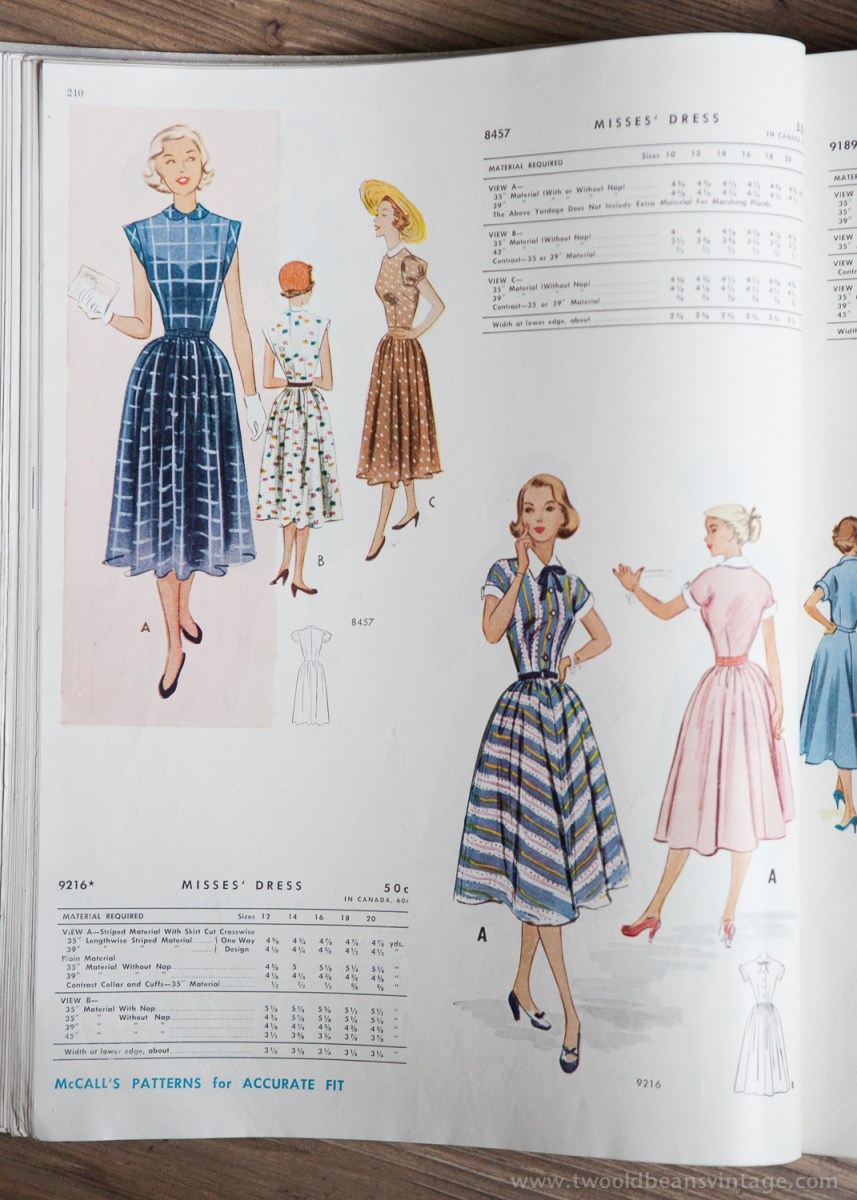 8457 + 9216 Mccalls 1954 Winter Vintage Pattern | 1950s Two Old Beans Vintage Clothing